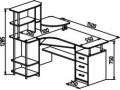 Угловой компьютерный стол C 237 с надстройкой СЕ237