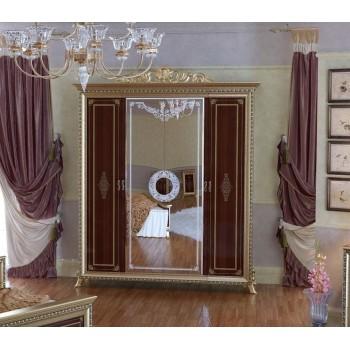Шкаф платяной Версаль 4-х дверный орех
