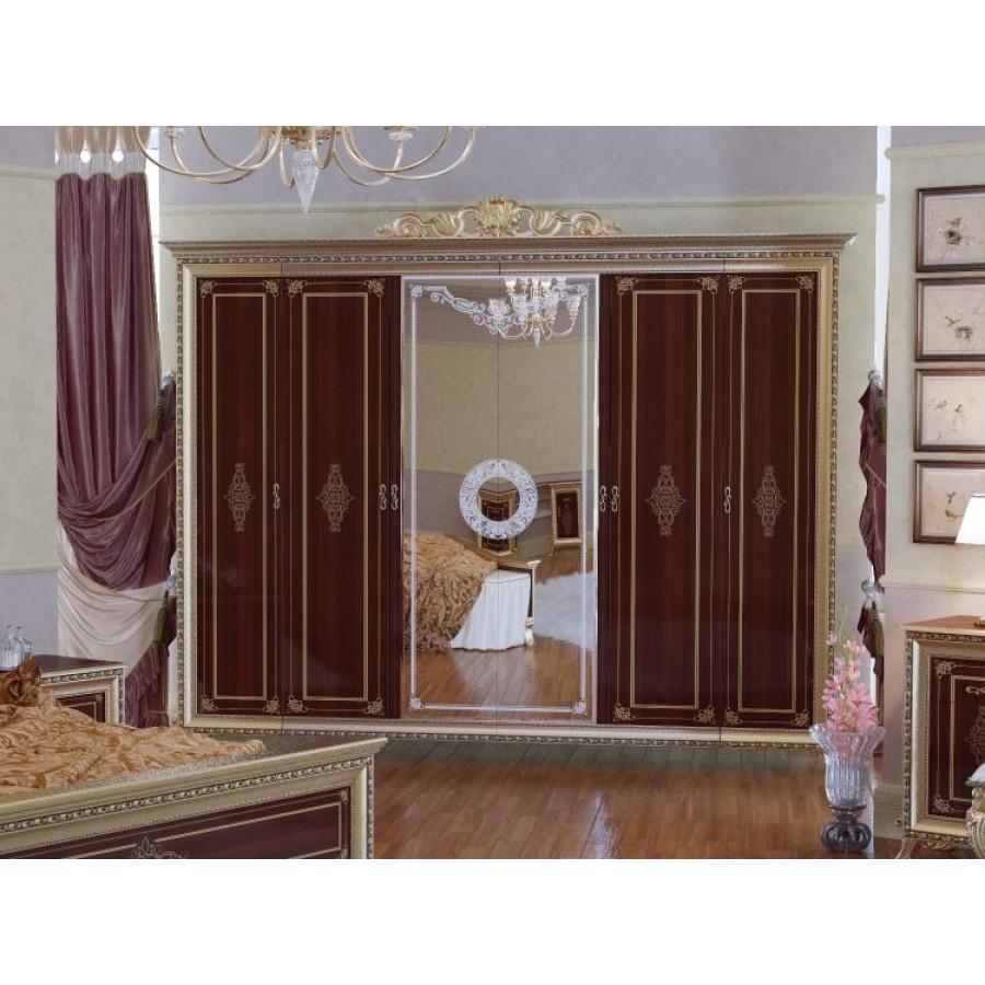 Шкаф платяной Версаль 6-ти дверный орех