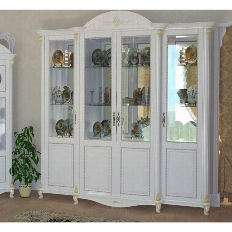 Витрина 4-х дверная Да Винчи белая