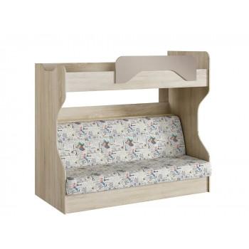 Двухъярусная кровать с диваном НМ 037.43 Акварель