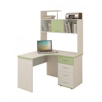 Угловой компьютерный стол Акварель 53.13 с надстройкой 53.18